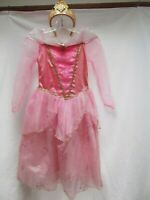 Disney Sleeping Beauty Aurora pink tulle princess 4 layer dress 7 8 crown tiara