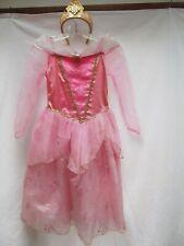 Disney Sleeping Beauty Aurora pink tulle princess 4 layer dress 7 8 crown tiara