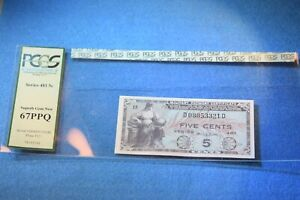 MILITARY PAYMENT CERTIFICATE SERIRES 481 5 CENTS PCGS CERTIFIED 67PPQ!!   #1