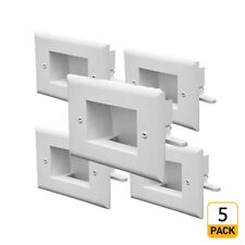 5 x Easy Mount Low Voltage Cable Recessed Wall Plate, Slim Fit – White
