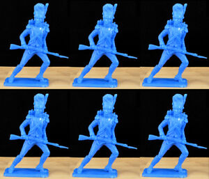 Dulcop Six Napoleonic French Grenadiers - 60mm unpainted plastic toy soldiers