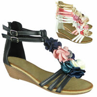 Ladies Gladiator Zip Wedge Summer Comfy Sandals Womens Casual Comfy Shoes Size