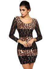 Leopard Print Lace Long Sleeve Mini Dress/Black and Brown