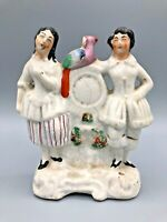 """Antique Staffordshire Couple with Clock and Bird 7"""" Tall"""