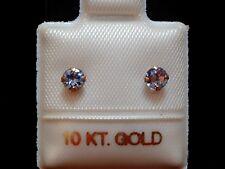 Feinste Tansanit Ohrstecker - zart - 3,5 mm - 10 Kt. Weißgold 417 - Brillant Cut