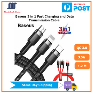 Baseus Premium 3 IN 1 Phone Fast Charging And Data Trans Cable Type C Micro USB