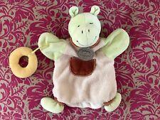 Doudou Hippopotame Vert Marron Marionnette DOUDOU ET COMPAGNIE  BE