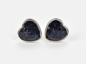 925 Sterling Silver Natural Blue Sandstone Heart Shaped Stud Butterfly Earrings