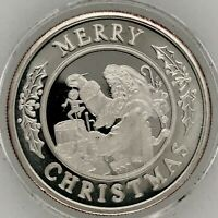 Merry Christmas Seasons Greetings Holiday Proof Coin 1 Troy Oz .999 Fine Round