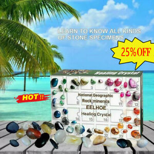 24 grids Crystal Healing Stone Set Art and Craft Advent Crystal Stone Gift 2021
