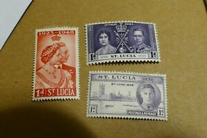 3 St Lucia postage stamps Caribbean postal