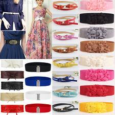 Lady Womens Leather Wide/Thin Dress Belt Elastic Stretch Buckle Waist Band Belts