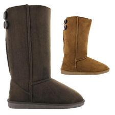 Womens Ella Shoes Dora Boots Winter Tall Faux Suede Fur Brown Chestnut Button