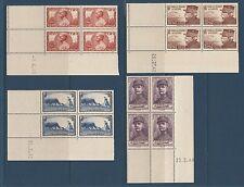 timbre France bloc de 4 coin daté profit des oeuvres de guerre   num: 454/57  **