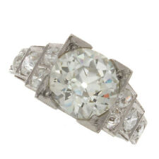 2.60ct Certified Old European Cut Diamond Antique Engagement Ring