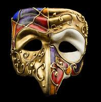 Maschera Di Venezia Polichinelle Naso Dorata Carta Mache Per Uomo Lusso 22347