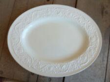 """Wedgwood Patrician Plain White  16"""" Oval Serving Platter Embossed Rim Scrolls"""