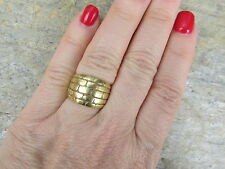 14KT Yellow Gold Custom Wide Artistic Brick Design Cigar Band Ring Unique NEW