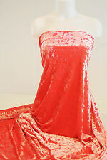 """VELVET CRUSHED STRETCH FABRIC CORAL PINK   58"""" COSTUME PAGEANT FORMAL HOME DECOR"""