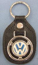 Vintage White VW logo Steering Wheel Black Leather Keyring Volkswagon Key Fob
