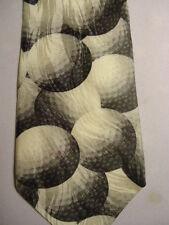 "RM Sport Black Gray White Just Balls Golf Ralph Marlin Design Silk Tie 58"""