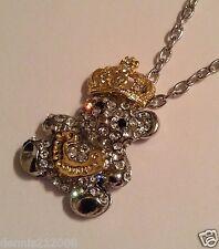 Impresionante enorme Oso de Cristal con Corona Collar Colgante Plata/Oro Tono B263