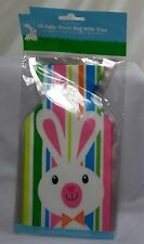 "15) Easter Cello Treat Bag With Ties Bunny & Multi-Color Stripes 5"" x 9"" *New"