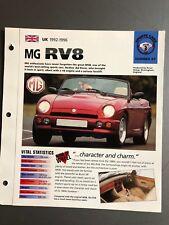 "1992 - 1996 MG RV8 Roadster IMP ""Hot Cars"" Spec Sheet Folder Brochure Awesome"