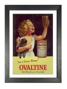 Ovaltine Milk Old Vintage Advert Poster Smiling Girl with Doll Photo Happy Kid