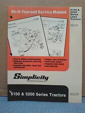 Simplicity 5100 & 5200 Series, Tractor And Mower Deck Repair Manual Original!