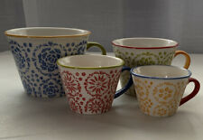 Pier 1 Imports Stoneware Measuring Cups Flower Pattern 4 pc EUC