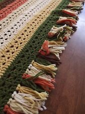 "Vintage Afghan granny EARTH TONES Handmade Crochet Quilt Throw Blanket 60""x42"""