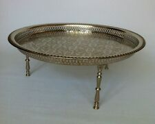 Authentic Moroccan Alpaca Silver Serving tray/table with screw-on legs from Fez
