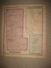 Antique 1877 New Hanover Township Pennsylvania Hndclr Map Limerick Zieglersville