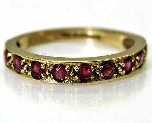 Pretty Ruby 9ct Yellow Gold Stacking Band ring i ~ 4 1/2