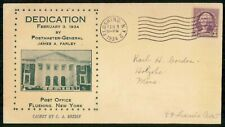 US 1934 Dedication Post Office Cachet by C A Bredin Postal History New York Cove