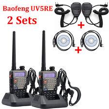 2 Sets Dual Band Baofeng UV-5RE Walkie Talkie UHF VHF Communicator+FM+Speaker+Ca