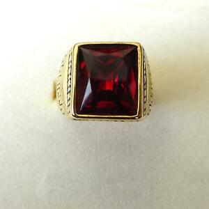 Monsignor Men's Ring, Stainless Steel Gold Tone with Square Red Ruby - 45 V