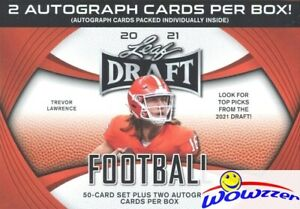 2021 Leaf Draft Football Factory Sealed Blaster Box-50 ROOKIES+2 AUTOGRAPHS!