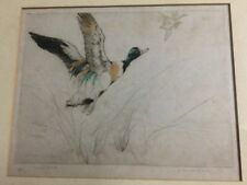GEORGE VERNON STOKES ( 1873 - 1954 ) HAND COLOURED ETCHING 23/75 - FLYING DUCKS