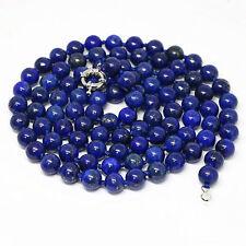 "Natural Egyptian 8mm blue lapis lazuli jasper long chain round bead necklace 36"""