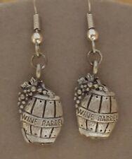 Wine Barrel Earrings Pewter