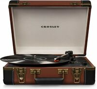 Crosley Executive Deluxe CR6019D-BR Portable Turntable with Bluetooth - Brown