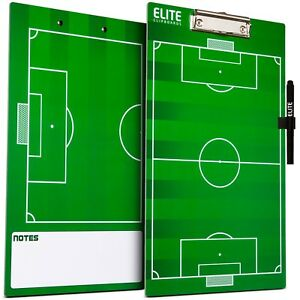 Elite Clipboards Double Sided Dry Erase Coaches Soccer Marker Board with Marker