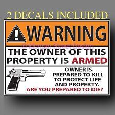 "Sticker Set of 2 Second Amendment Gun Warning Decals 4""x3"""