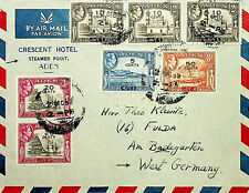 ADEN HOTEL 1956 G VI 7 S/C VALUES ON LOVELY AIRMAIL COVER TO GERMANY