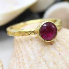 Handmade Hammered Designer Ruby Stack Ring Gold Over 925K Sterling Silver
