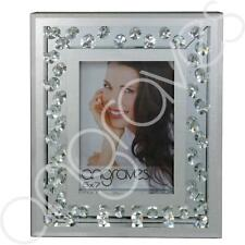 Inlaid Glass Silver Floating Crystals Photo Frame (5 x 7) Photoframe Picture Gli