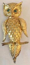 Vintage Gold Tone Owl Brooch / Pin
