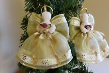 4 Handmade Hand crafted Angels Made in Canada Wired Ribbon Gold Angel Tree Decor